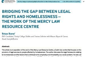 Brian Barry, Bridging the Gap between Legal Rights and Homelessness: The Work of the MLRC, 2012