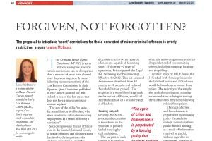 Law Gazette, Forgiven Not Forgotton, March 2013